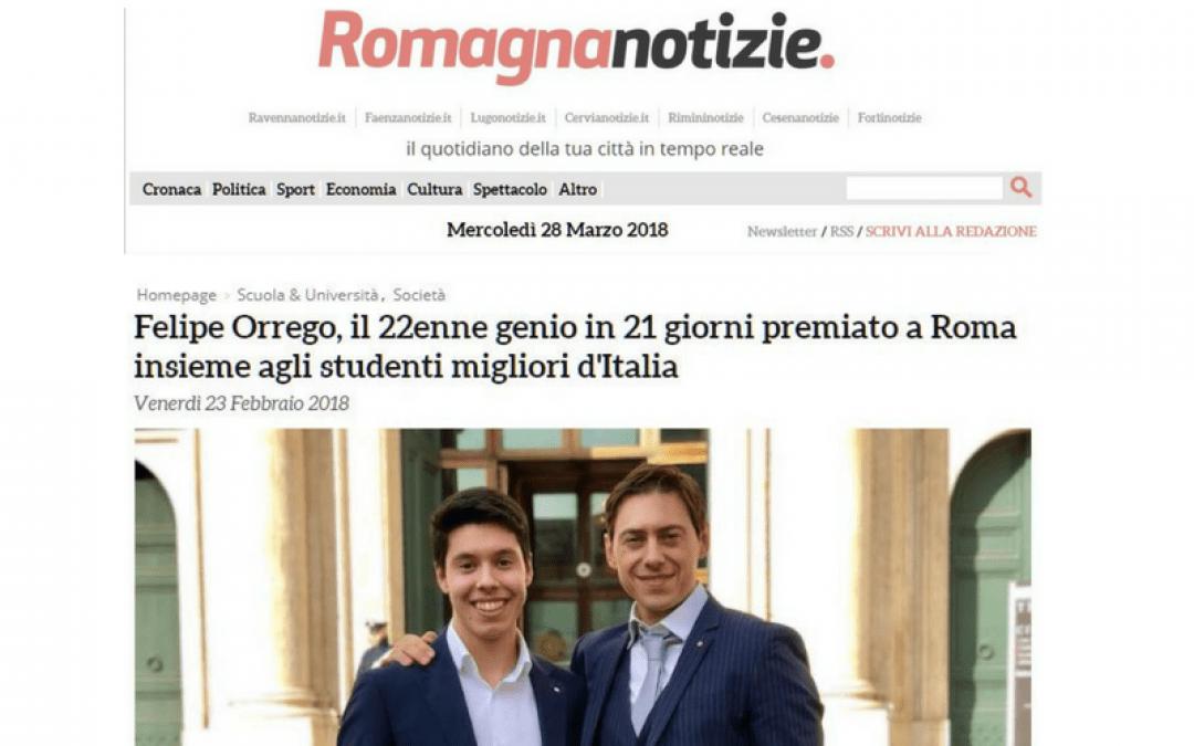 Felipe Orrego, il 22enne genio in 21 giorni premiato a Roma insieme agli studenti migliori d'Italia – Romagna Notizie