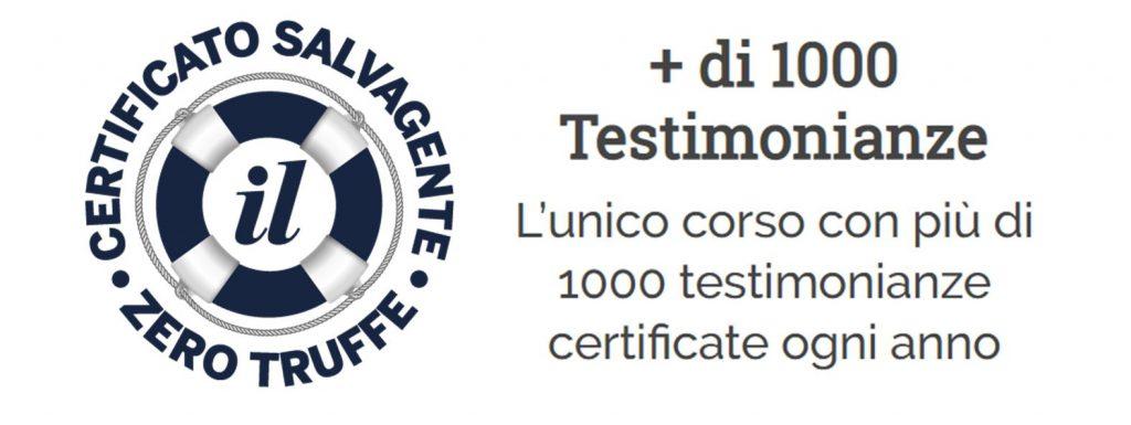 Testimonianze certificate Salvagente Zerotruffe Genio in 21 giorni
