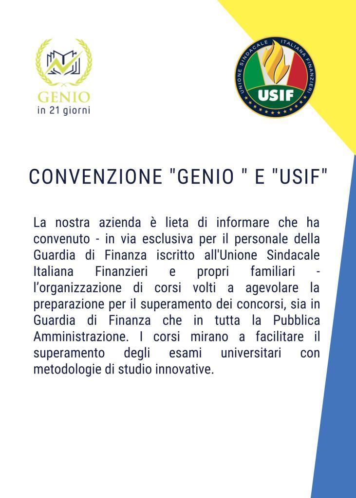 Convenzione USIF con Genio in 21 Giorni